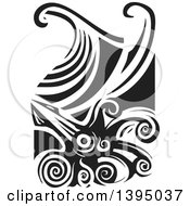 Clipart Of A Black And White Woodcut Giant Squid And Ocean Waves Royalty Free Vector Illustration