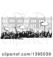 Clipart Of A Woodcut Crowd Of Protestors Holding Signs In Front Of Baltimore Row Houses Royalty Free Vector Illustration