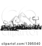 Clipart Of A Woodcut Crowd Of Protestors Holding Signs Over The Egyptian Pyramids Royalty Free Vector Illustration