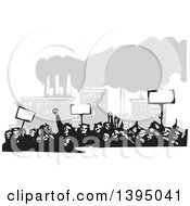 Clipart Of A Woodcut Crowd Of Protestors Holding Signs Near A Factory Royalty Free Vector Illustration