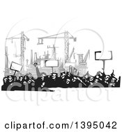 Clipart Of A Woodcut Crowd Of Protestors Holding Signs Near A Factory Under Construction Royalty Free Vector Illustration