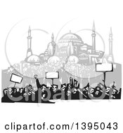 Clipart Of A Woodcut Crowd Of Protestors Holding Signs Near The Hagia Sophia Istanbul Royalty Free Vector Illustration