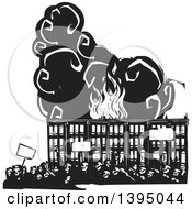 Clipart Of A Woodcut Crowd Of Protestors Holding Signs Over Burning Baltimore Row Houses Royalty Free Vector Illustration by xunantunich