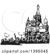 Clipart Of A Woodcut Crowd Of Protestors Holding Signs At The Kremlin In Moscow Royalty Free Vector Illustration