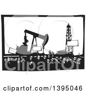 Clipart Of A Woodcut Crowd Of Protestors Holding Signs Near An Oil Drill And Pump Royalty Free Vector Illustration