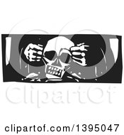 Clipart Of A Black And White Woodcut Gods Hands Creating A Human Skull Royalty Free Vector Illustration