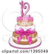 Clipart Of A Girly Pink Bat Mitzvah Birthday Cake With Stars Royalty Free Vector Illustration