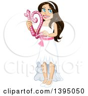 Clipart Of A Happy Jewish Girl Holding 12 For Bat Matzvah Royalty Free Vector Illustration