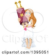 Clipart Of A Happy Jewish Girl Holding A Torah For Bat Mitzvah Royalty Free Vector Illustration by Liron Peer