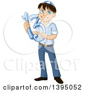 Clipart Of A Happy Jewish Boy Holding 13 For Bar Mitzvah Royalty Free Vector Illustration