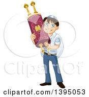 Clipart Of A Happy Jewish Boy Holding A Torah For Bar Mitzvah Royalty Free Vector Illustration by Liron Peer