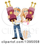 Clipart Of A Happy Jewish Boy And Girl Holding Torahs For Bar Mitzvah And Bat Matzvah Royalty Free Vector Illustration by Liron Peer