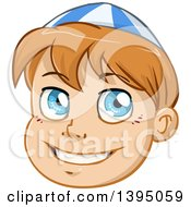 Happy Blue Eyed Jewish Boy Wearing A Kippah