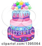 Clipart Of A Girly Birthday Cake With Stars Royalty Free Vector Illustration