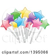 Clipart Of A Colorful Cluster Of Stars On Sticks Royalty Free Vector Illustration