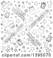 Black And White Lineart Seamless Happy Birthday Background With Text Stars Confetti Cake And Gifts
