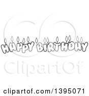 Black And White Lineart Happy Birthday Candle Letters
