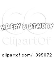 Black And White Lineart Happy Birthday Text