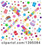 Seamless Happy Birthday Background With Text Stars Confetti Cake And Gifts