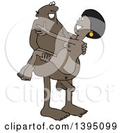 Clipart Of A Cartoon Naked Black Man Carrying A Woman Royalty Free Vector Illustration by djart
