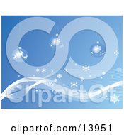 Three Christmas Snow Baubles On A Blue Wintry Background With Snowflakes Clipart Illustration