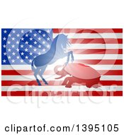 Silhouetted Political Aggressive Democratic Donkey Or Horse And Republican Elephant Fighting Over A USA Flag
