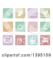 Clipart Of White Christian Icons On Square Colorful Pastel Tiles Royalty Free Vector Illustration by AtStockIllustration