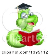 Clipart Of A Happy Bespectacled Green Professor Or Graduate Earthworm Reading A Red Book Royalty Free Vector Illustration by AtStockIllustration