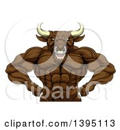 Clipart Of A Tough Muscular Brown Bull Man Mascot Flexing From The Waist Up Royalty Free Vector Illustration