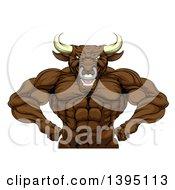 Tough Muscular Brown Bull Man Mascot Flexing From The Waist Up