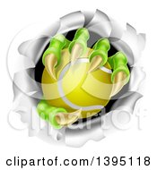 Clipart Of Monster Claws Holding A Tennis Ball And Ripping Through A Wall Royalty Free Vector Illustration