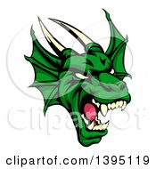 Clipart Of A Demonic Roaring Green Dragon Head Royalty Free Vector Illustration