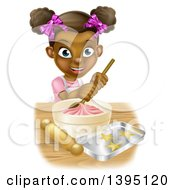 Clipart Of A Happy Black Girl Making Star Cookies And Frosting Royalty Free Vector Illustration by AtStockIllustration