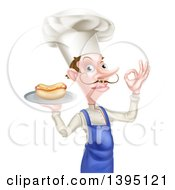 Clipart Of A White Male Chef With A Curling Mustache Holding A Hot Dog On A Platter And Gesturing Ok Royalty Free Vector Illustration