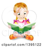 Clipart Of A Happy Blond Caucasian School Girl Reading A Book On The Floor With Magic Glowing Lights Royalty Free Vector Illustration by AtStockIllustration