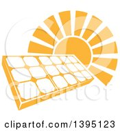 Clipart Of A Sun Shining Behind A Solar Panel Photovoltaics Cell Royalty Free Vector Illustration by AtStockIllustration