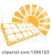 Sun Shining Behind A Solar Panel Photovoltaics Cell