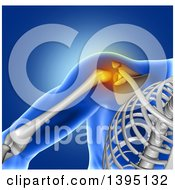 Clipart Of A 3d Xray Of A Mans Painful Shoulder Joint And Visible Skeleton On Blue Royalty Free Illustration by KJ Pargeter