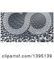 Clipart Of A 3d Abstract Metal Hexagon Textured Background Royalty Free Illustration