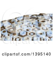 3d Abstract Brown Tan And Blue Hexagon Pattern Background