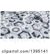 Clipart Of A 3d Abstract White And Black Hexagon Pattern Background Royalty Free Illustration