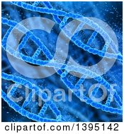 Clipart Of A Background Of 3d Diagonal Blue Dna Strands Pixelating Royalty Free Illustration
