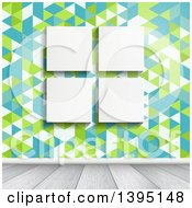 Clipart Of Four Blank Canvases Hanging On A Wall With Retro Geometric Wallpaper Over White Wood Floors Royalty Free Vector Illustration