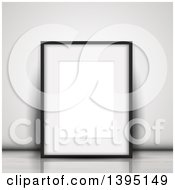 Clipart Of A 3d Blank Picture Frame Leaning Against A Wall On A Floor Royalty Free Vector Illustration