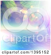 Clipart Of A 3d Palm Trees Framing The Ocean With Flares Royalty Free Illustration by KJ Pargeter