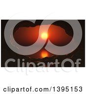 Clipart Of A 3d Cave Framing A Red Ocean Sunset Landscape Royalty Free Illustration