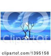 Clipart Of A 3d Blue Ocean Scape With Bare Trees And The Moon Royalty Free Illustration by KJ Pargeter