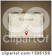 Clipart Of A Certificate Template With Sample Text Over Wood Grain Royalty Free Vector Illustration by KJ Pargeter