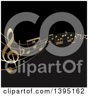 Clipart Of A Background Of Golden Music Note Waves On Black Royalty Free Vector Illustration by KJ Pargeter