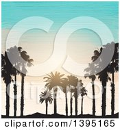 Clipart Of Black Silhouetted Palm Trees And Sand Over Acrylic Painted Sky And Ocean Royalty Free Vector Illustration